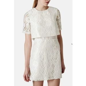 TOPSHOP Tiered Lace Shift WHITE SIZE 8 NEW #268